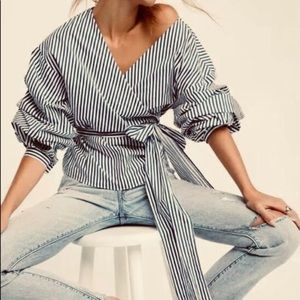 Puffed sleeves striped wrap blouse with waist tie